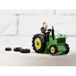 Figurka na dort - nevěsta a ženich na traktoru