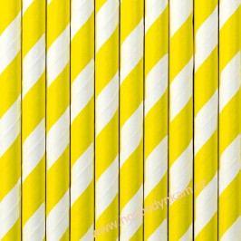 Papírová brčka žlutý proužek