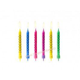 Dortové svíčky barevné s puntíky