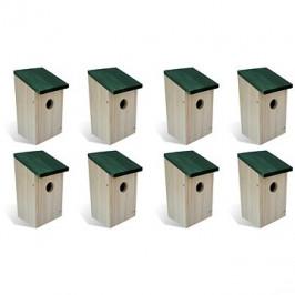 Ptačí budky 8 ks dřevěné 12×12×22 cm 276006