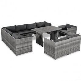 10dílná zahradní sedací souprava s poduškami polyratan šedá 44195 44195