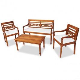 4dílná zahradní sedací souprava s poduškami masivní teak 43055 43055