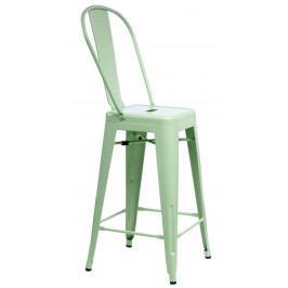 Barová stolička s opěradlem Paris Back zelená