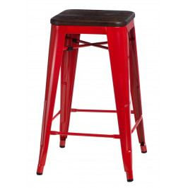 Barová židle Paris Wood 75cm červená kartáčovaná borovice