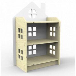 Dřevěný regálek ve tvaru domečku Planeco ZUZIA bílý