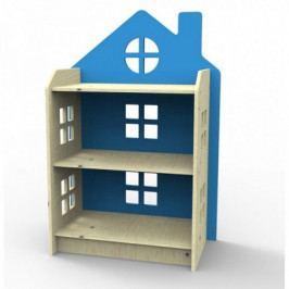 Dřevěný regálek ve tvaru domečku Planeco ZUZIA modrý