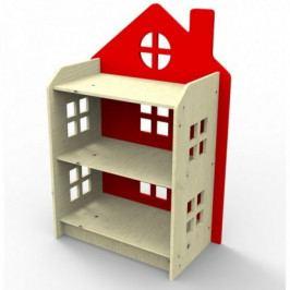 Dřevěný regálek ve tvaru domečku Planeco ZUZIA červený