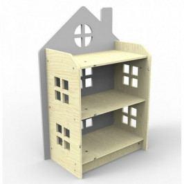Dřevěný regálek ve tvaru domečku Planeco ZUZIA šedý