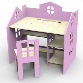 Dřevěný stolek se stoličkou Planeco PRINCESS růžový