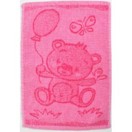 Dětský ručník BEBÉ medvídek růžový 30x50 cm