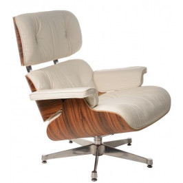 Culty Bílé kožené křeslo v palisandrovém provedení Lounge chair