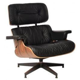Culty Černé kožené palisandrové křeslo Lounge chair