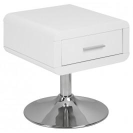 SCANDI Bílý noční stolek Borono s chromovou podnoží