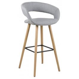 SCANDI Světle šedá látková barová židle Garry 98 cm