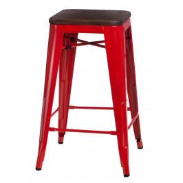 Culty Červená kovová barová židle Tolix 75 s tmavým dřevěným sedákem