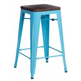 Culty Modrá kovová barová židle Tolix 75 s tmavým dřevěným sedákem