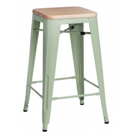 Culty Zelená kovová barová židle Tolix 75 se světlým dřevěným sedákem