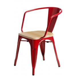 Culty Jídelní židle Tolix 45 s područkami, červená/borovice