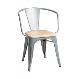 Culty Jídelní židle Tolix 45 s područkami, šedá/borovice