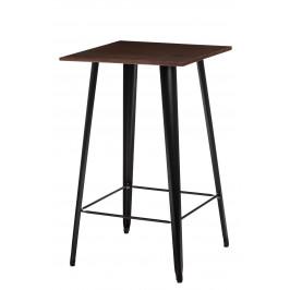 Culty Černý kovový barový stůl Tolix s tmavou dřevěnou deskou