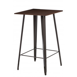 Culty Metalický barový stůl Tolix s tmavou dřevěnou deskou