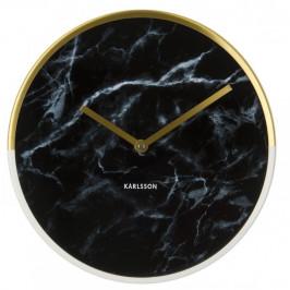 Time for home Černé nástěnné hodiny Double Gold 30 cm