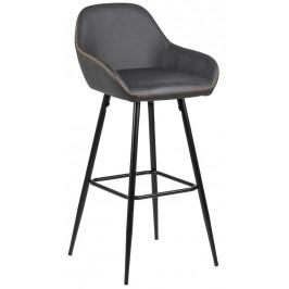 SCANDI Šedá čalouněná barová židle Disca