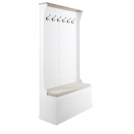 SCANDI Bílý věšákový panel s lavicí Antik 180 cm