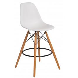 Culty Bílá plastová barová židle DSW s bukovou podnoží