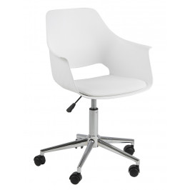 SCANDI Bílá kancelářská židle Romana z ekokůže