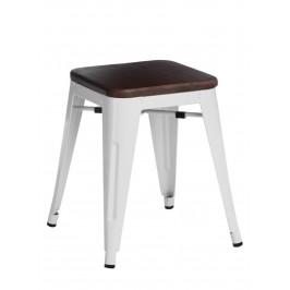 Culty Bílá kovová stolička Tolix 45 s dřevěným sedákem
