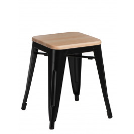 Culty Černá kovová stolička Tolix 45 s dřevěným sedákem z borovice