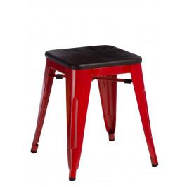 Culty Červená kovová stolička Tolix 45 se sedákem z kartáčovaného dřeva
