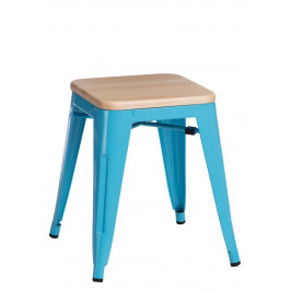 Culty Modrá kovová stolička Tolix 45 s dřevěným sedákem z borovice
