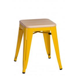 Culty Žlutá kovová stolička Tolix 45 s dřevěným sedákem z borovice