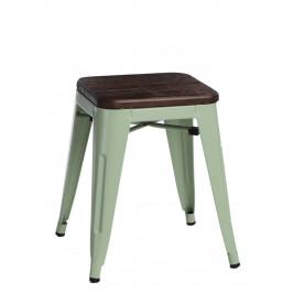 Culty Zelená kovová stolička Tolix 45 se sedákem z kartáčovaného dřeva