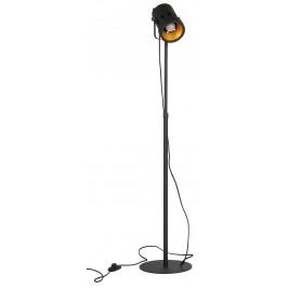 Hoorns Černá kovová stojací lampa Falk