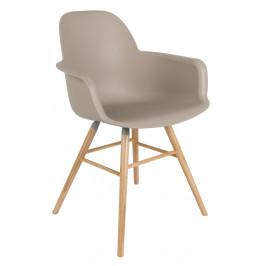 Béžová jídelní plastová židle ZUIVER ALBERT KUIP s područkami