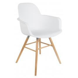 Bílá plastová jídelní židle ZUIVER ALBERT KUIP s područkami