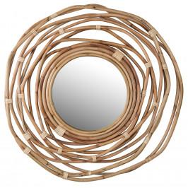 Přírodní ratanové závěsné zrcadlo DUTCHBONE Kubu O 75 cm