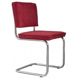 Červená čalouněná židle ZUIVER RIDGE RIB s lesklým rámem