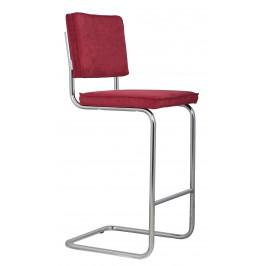 Červená čalouněná barová židle ZUIVER RIDGE RIB