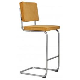 Žlutá čalouněná barová židle ZUIVER RIDGE RIB