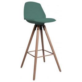 SCANDI Tmavě zelená plastová barová židle Hannah 63 cm