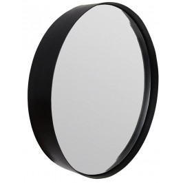 White Label Living Černé závěsné zrcadlo WLL Raj Large O 75 cm