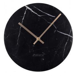 Černé nástěnné mramorové hodiny ZUIVER MARBLE TIME O 25 cm