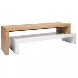 Porto Deco Designový TV stolek Falesia, dub/matná bílá