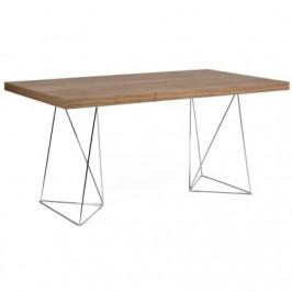 Porto Deco Ořechový kancelářský stůl Antonio 160 cm s chromovou podnoží