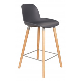 Tmavě šedá plastová barová židle ZUIVER ALBERT KUIP 65cm