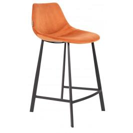 Oranžová sametová barová židle DUTCHBONE Franky 65 cm
